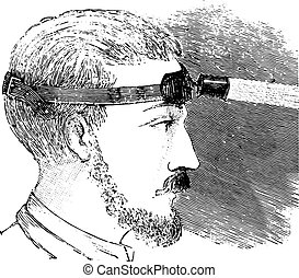 Man with electric light attached to strap on forehead, vintage engraving.