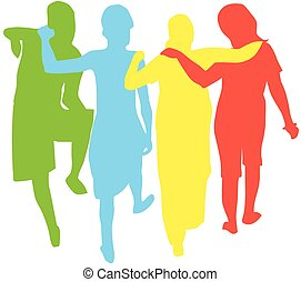 People, illustration - People, group of 4 women with arms...