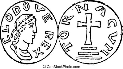 Coin Currency, Merovingian Dynasty, vintage engraving - Coin...