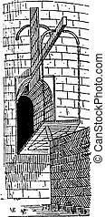 Drawbridge, vintage engraving - Drawbridge, vintage engraved...