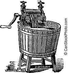 Spin washer with pressure vintage engraving - Old engraved...