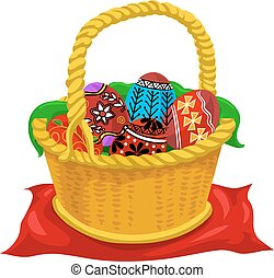 Easter eggs, illustration - Easter eggs, yellow basket,...