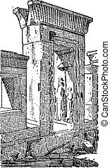 The gate at the palace of Darius vintage engraving