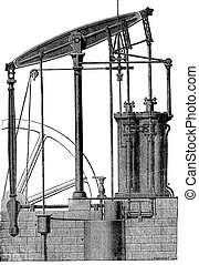 Two cylinder Steam machine, vintage engraving.