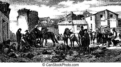 The shearers Granada, paint Worms. - Drawing J. Lavee. - (This table belongs to MM. Goupil and Co.), vintage engraving.