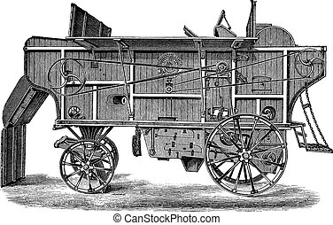 Thresher machine Hornsby vintage engraving - Old engraved...