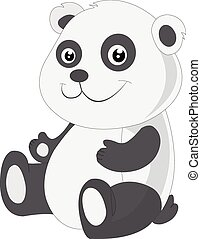 Baby panda, illustration - Baby panda, black and white,...