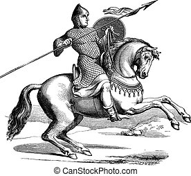 Knight on a horse wearing hauberk vintage engraving - Old...