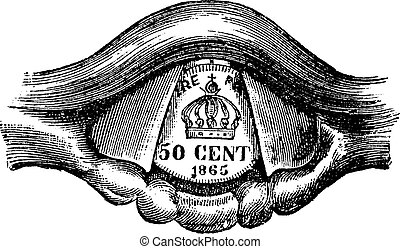 Coin Placed in the Larynx, vintage engraving
