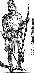 Slavic person vintage engraving - Old engraved illustration...