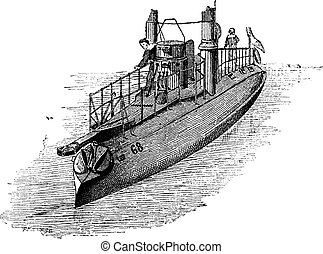 French Torpedo Boat, vintage engraving