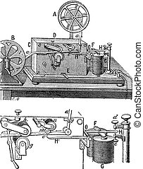 Telegraph, Morse apparatus, vintage engraving - Telegraph,...