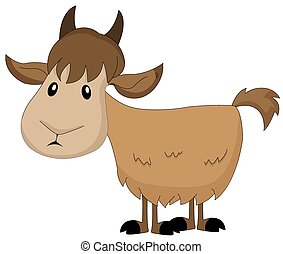 Cute brown goat, illustration - Cute brown goat, vector...