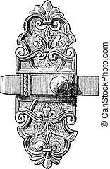 Latch and Bolt vintage engraving - Old engraved illustration...