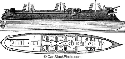 Colbert, a French Ironclad Ship, vintage engraving -...