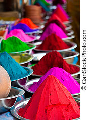 Indian coloured powders - Colors Kumkum for tilaka und bindi...