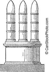 Meta, vintage engraving - Meta, in Architecture, vintage...