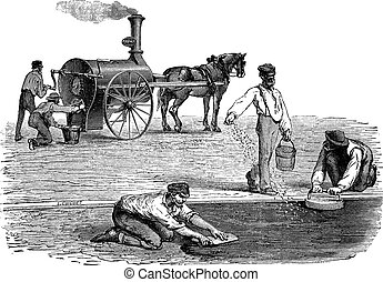 Road workers making pavement with the help of steam engine vintage engraving