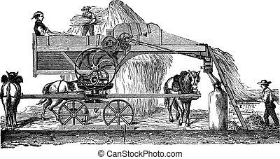 Threshing machine or thrashing machine vintage engraving -...