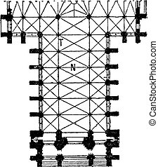 Floor Plan of the Nave of the Amiens Cathedral in Amiens, France, vintage engraving