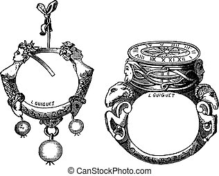 The earring and the ring of the sixteenth century vintage...