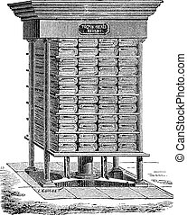 Hydraulic Press used in the Production of Tissue Paper, vintage engraving