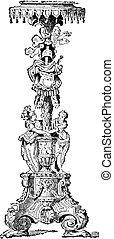 Floor lamp or Torchiere, vintage engraving.