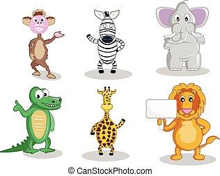 Six cartoon animals isolated on white - A monkey and a zebra...