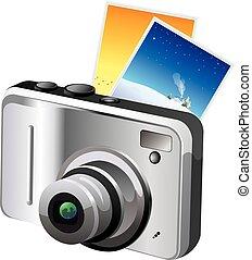 Digital Camera, illustration - Digital Camera, Gray and...