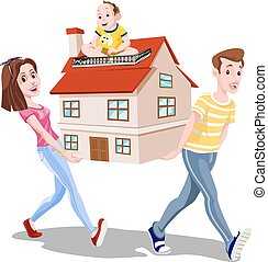 Family Carrying a House, illustration - Family Carrying a...