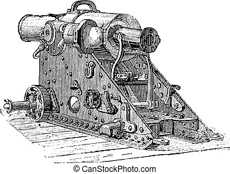 Howitzer Cannon, vintage engraving - Howitzer Cannon,...