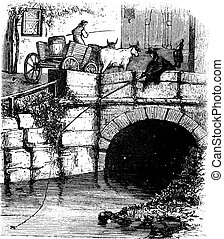 Fig. 76. Fly fishing from a bridge, vintage engraving. -...
