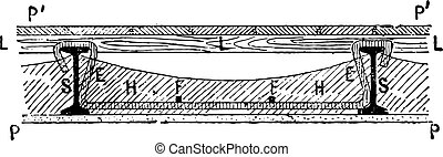 Section of a floor between two joists, vintage engraving -...