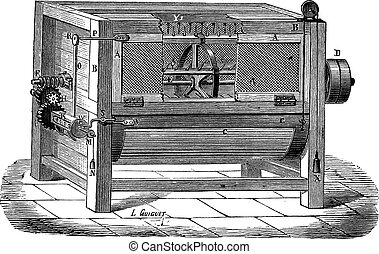 The Machine used to process wool vintage engraving