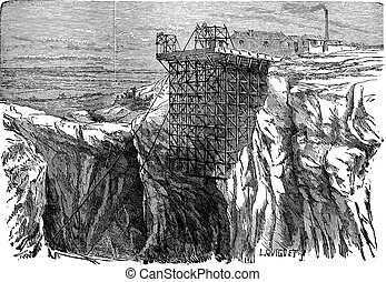 Mining Installation on a Cliff, vintage engraving - Mining...