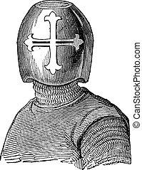 gravura, capacete,  hughes,  chalons, vindima,  de, visconde