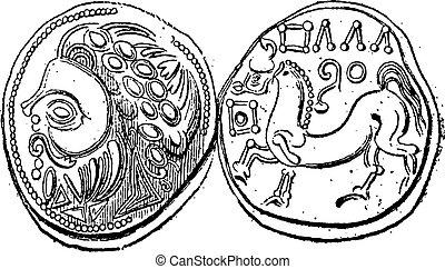 Ancien, celtique, Didrachma, monnaie, vendange, gravure,