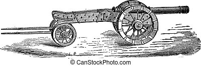 Cannon with limber vintage engraving - Old engraved...