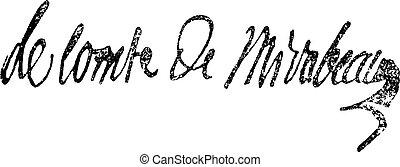 Signature of Victor de Riquetti or Marquis de Mirabeau...