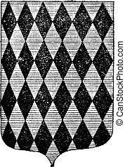 Diamond Coat of Arms, vintage engraving