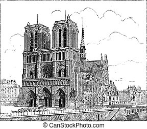 Notre Dame de Paris, in Paris, France, vintage engraving -...