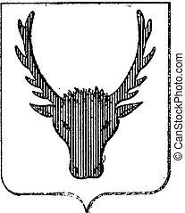 Moose Coat of Arms, vintage engraving