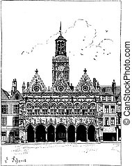 The town hall of Saint-Quentin vintage engraving