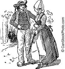 Peasants of Brittany, vintage engraving. - Peasants of...