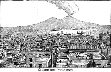 City of Naples, in Campania, Italy, vintage engraving