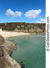 Porthcurno beach and turquoise sea, Cornwall UK