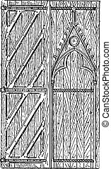The door of Sainte-Chapelle vintage engraving - Old engraved...
