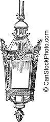 Lantern, vintage engraving.