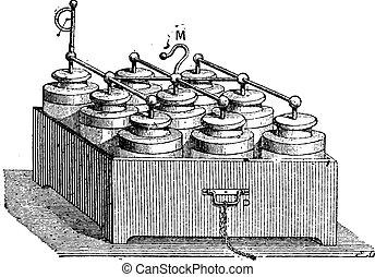 Electric Battery made up of Leyden Jars, vintage engraving