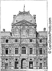 The Louvre Palace, vintage engraving - The Louvre Palace,...